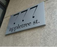 777 APPLETREE STRRET – Stencil Cut Aluminum Sign Backed up with Black Acrylic in Philadelphia