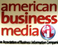 AMERICAN BUSINESS MEDIA - Painted Stainless Steel Fabricated Letters. Logo has a digital print applied installed in New York City
