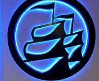 "ARMADA – 60"" Diameter Painted Aluminum Fabricated Logo Sign Reverse Lit with Blue LED'S"