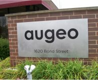 AUGEO – Black Filled Etched Stainless Steel Panel Sign shipped to Napperville, IL