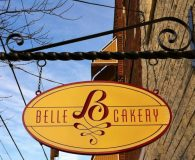 BELLE CAKERY – Painted Sign with Paint Filled Copy mounted on a Scroll Bar