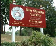 BLAIR CHRISTIAN ACADEMY – Painted Carved Sign with 23K Gold Leaf & Paint Fill Copy Mounted On Posts with Golf Leaf Finials in Philadelphia