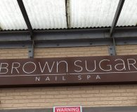 BROWN SUGAR - LED Illuminated Aluminum Stencil Cut Sign with White Acrylic Back-up Panel in Philadelphia