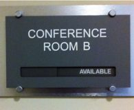 CONFERENCE ROOM – Satin Aluminum Panel with Acrylic ADA Compliant In Use Available Slider in Philadelphia