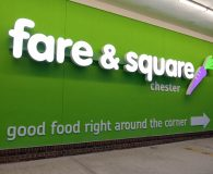 FARE & SQUARE – LED Illuminated Channel Letters Mounted on a Raceway in Chester, PA