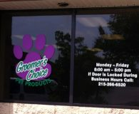 GROOMER'S CHOICE - Digitally Printed Vinyl Applied to Glass Windows in Trevose, PA