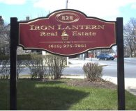 IRON LANTERN – 23K Gold Leaf Filled Carved Sign in Norristown, PA