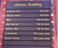 LITTMAN BUILDING - Changeable Aluminum Directory Sign in Philadelphia, PA