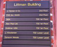 LITTMAN BUILDING - Changeable Aluminum Directory Sign in Philadelphia, PA