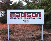 MADISON CONCRETE – Satin Aluminum Post & Panel Sign with Painted Aluminum Waterjet Cut Letters in Malvern, PA