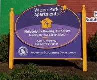 PHILADELPHIA HOUSING AUTHORITY – Combination of Painted Carved & Sandblasted Sign in 50 locations throughout Philadelphia