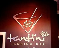 TANTINI TANNING BAR – Combination of Brushed Aluminum & Satin Brass Metalike™ Letters in Glassboro, NJ & Newark, DE