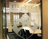 UNIVERSITY of PA – Frosted Vinyl Logo Applied to Glass Window in Philadelphia