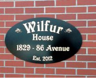 WILFUR HOUSE - Cast Bronze Metal Address Plaque shipped to London, England